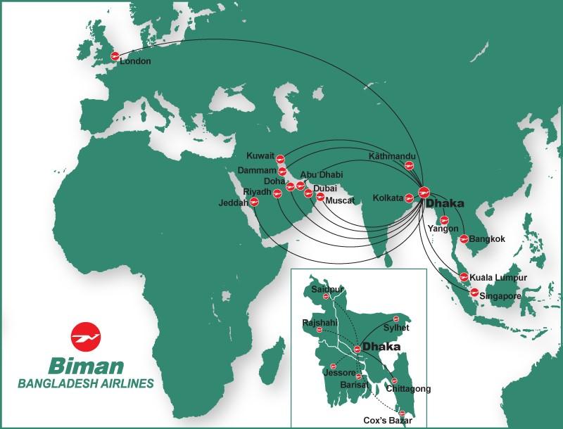 Biman Bangladesh Airline Internation Route Map