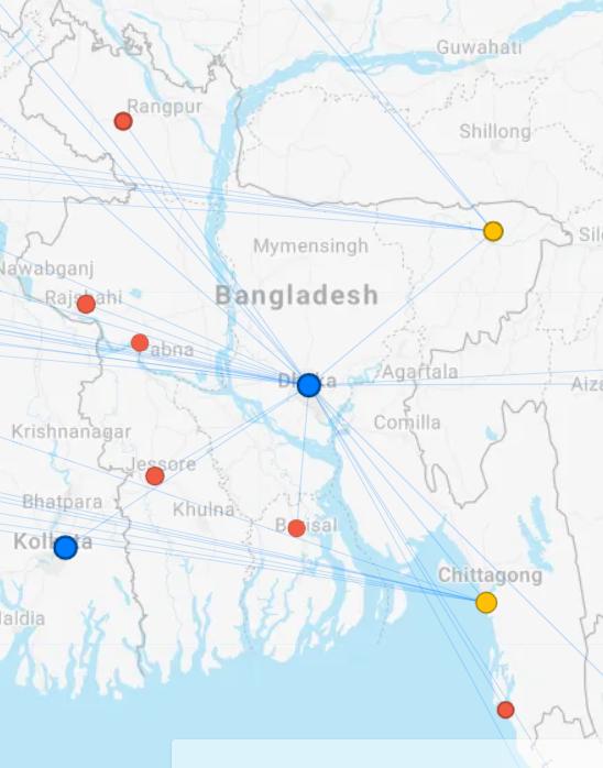 Biman Bangladesh Airline Domestic Route Map