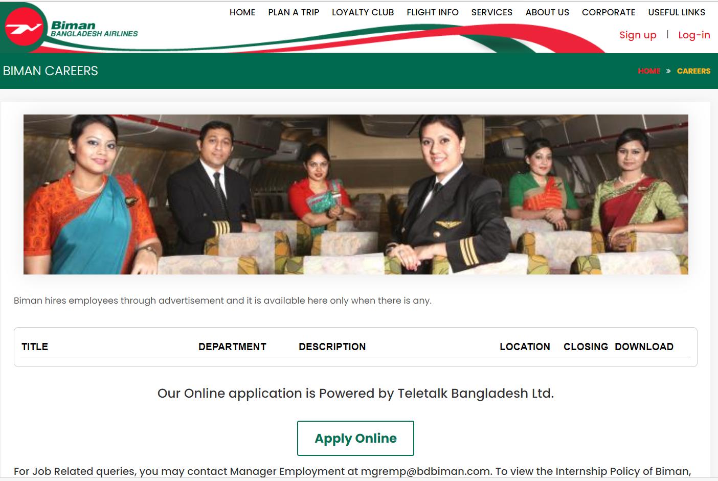 Biman Bnagladesh Airlines Career