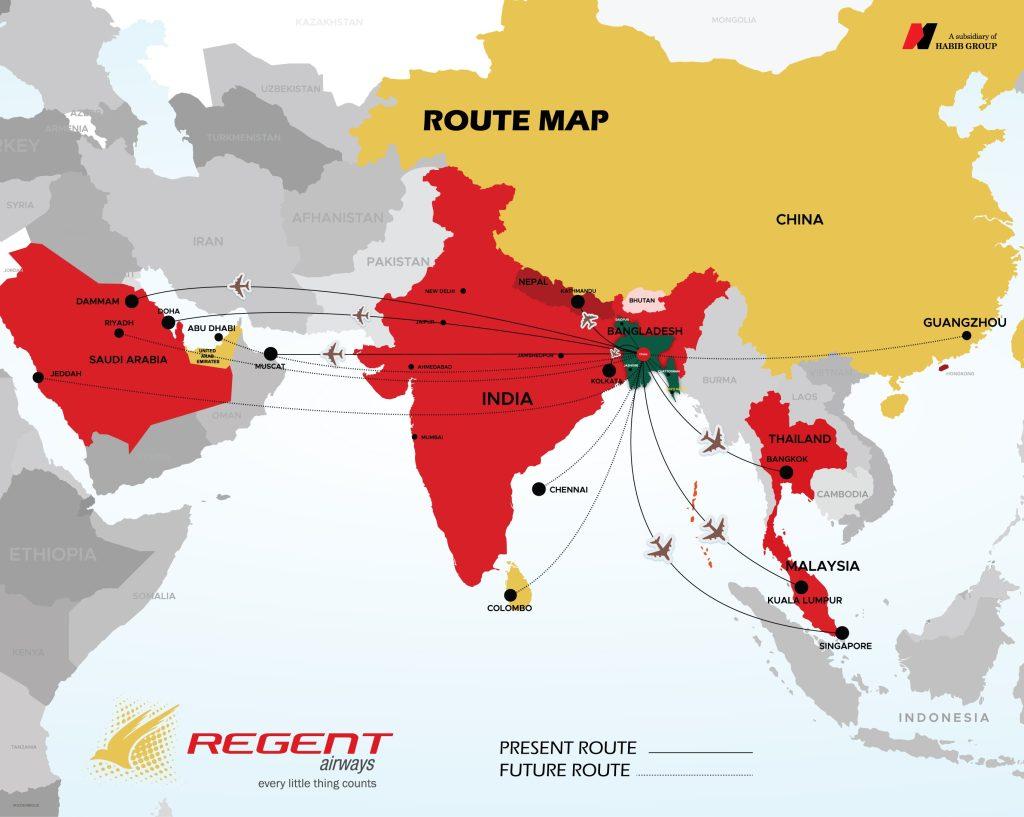 Regent Airways Route Map